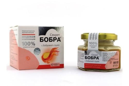 Медовая композиция Секрет бобра с бобровой струёй, банка стекло, Сашера-мед, 100г