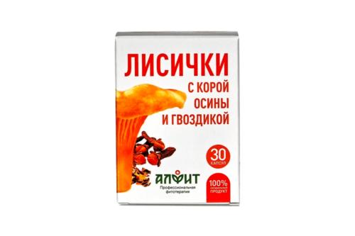 Концентрат на растительном сырье Лисички с корой осины и гвоздикой, блист ,30 капс по 450 мг