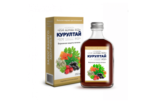Альпина Курултай бережная защита печени, Бальзам медово растительный, бут стекло, 250мл